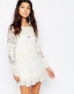 photo Crochet Lace Mini Swing Dress with Open Back by White Sand, color White/Cream - Image 2