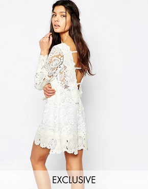 photo Crochet Lace Mini Swing Dress with Open Back by White Sand, color White/Cream - Image 1