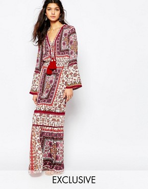 photo Prarie Printed Maxi Dress with High Thigh Split by White Sand, color Multi - Image 1