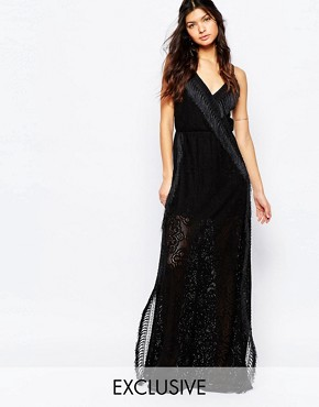 photo Wrap Front Cami Strap Crochet Maxi Dress with Fringing by White Sand, color Black - Image 1