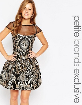 photo Brocade Prom Dress with Sheer Insert by Chi Chi London Petite, color Black/Gold - Image 1