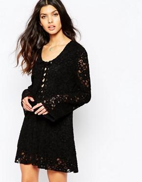 photo Lucid Lace Dress with Tie Neck by Somedays Lovin, color Black - Image 1