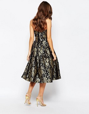 photo Premium 2 in 1 Midi Prom Dress in Metallic Jacquard by Chi Chi London, color Navy/Gold - Image 2