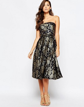 photo Premium 2 in 1 Midi Prom Dress in Metallic Jacquard by Chi Chi London, color Navy/Gold - Image 1