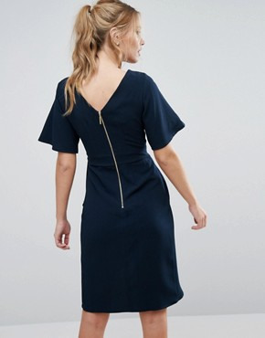 photo Tie Front Dress with Kimono Sleeve by Closet, color Navy - Image 2