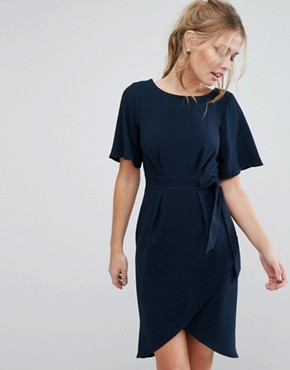 photo Tie Front Dress with Kimono Sleeve by Closet, color Navy - Image 1