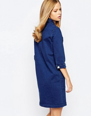 photo Vintage Indigo Denim Shirt Dress with Pearl Buttons by The Laden Showroom x Even, color Indigo - Image 2