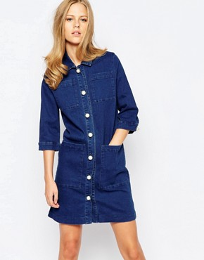 photo Vintage Indigo Denim Shirt Dress with Pearl Buttons by The Laden Showroom x Even, color Indigo - Image 1