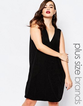 photo Slinky Swing Dress by Missguided Plus, color Black - Image 1