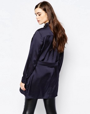 photo Shirt Dress by Missguided Plus, color Navy - Image 2
