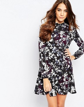 photo Tea Dress in Winter Floral by Neon Rose, color Multi - Image 1