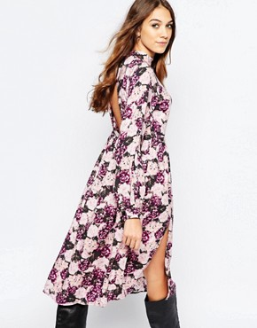 photo Dusk Floral Midi Tea Dress with Open Back by Neon Rose, color Multi - Image 2
