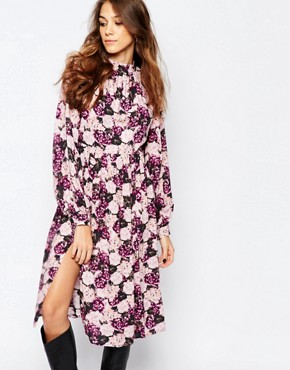 photo Dusk Floral Midi Tea Dress with Open Back by Neon Rose, color Multi - Image 1