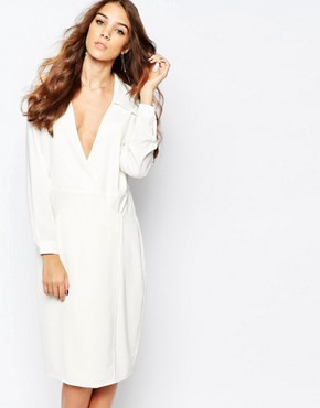 photo 70s Plunge Neck Wrap Dress by Neon Rose, color White - Image 1