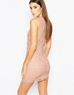 photo Allover Diamonte Mini Dress with Mesh Inserts by WOW Couture, color Dusky Pink - Image 2