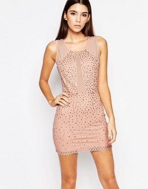 photo Allover Diamonte Mini Dress with Mesh Inserts by WOW Couture, color Dusky Pink - Image 1