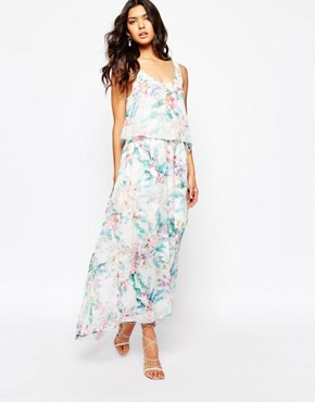 photo Aglamy Maxi Dress in Watercolour Floral by BOSS Orange, color Multi - Image 1