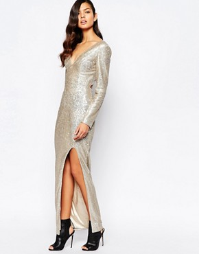 photo Irredescent Sequin Plunge Neck Cross Back Maxi Dress with Deep Thigh Split by The 8th Sign, color Gold - Image 2