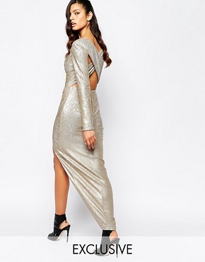 photo Irredescent Sequin Plunge Neck Cross Back Maxi Dress with Deep Thigh Split by The 8th Sign, color Gold - Image 1