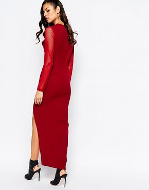 photo Swirl Mesh Inset Maxi Dress with Deep Thigh Split by The 8th Sign, color Oxblood - Image 2
