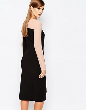 photo Mesh Insert Contrast Midi Dress with Deep Thigh Split by The 8th Sign, color Black - Image 2