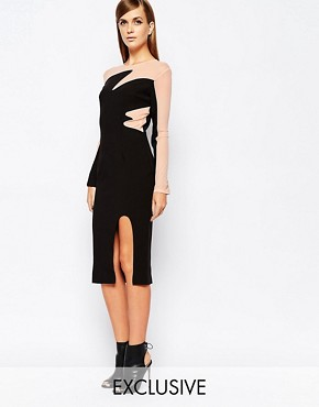photo Mesh Insert Contrast Midi Dress with Deep Thigh Split by The 8th Sign, color Black - Image 1