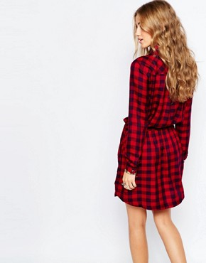 photo Check Shirt Dress with Tie Waist by Pimkie, color Multi - Image 2
