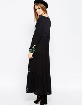 photo Embroidered Tassel Maxi Dress by ASOS PREMIUM, color Black - Image 2