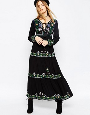photo Embroidered Tassel Maxi Dress by ASOS PREMIUM, color Black - Image 1