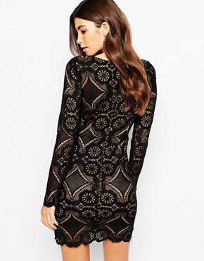 photo V Neck Mini Dress in All Over Lace by Love Triangle, color Black - Image 2