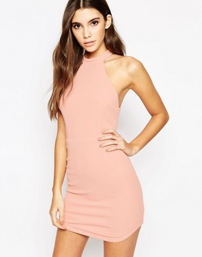 photo Cut Away Neck Bodycon Dress with Lace Up Back by Ginger Fizz, color Mink - Image 1