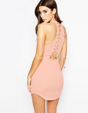 photo Cut Away Neck Bodycon Dress with Lace Up Back by Ginger Fizz, color Mink - Image 2