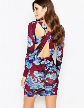photo Plunge Ruched Bodycon Dress with Cut Out Back in Floral Print by Ginger Fizz, color Multi - Image 1