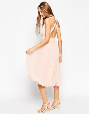 photo Hollywood Midi Dress by ASOS WEDDING, color Soft Pink - Image 2