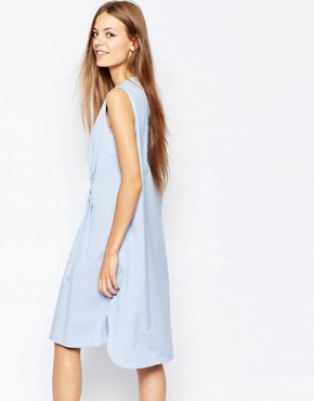 photo Sleeveless Shirt Dress with Pleat by Paul by Paul Smith, color Blue - Image 2