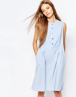 photo Sleeveless Shirt Dress with Pleat by Paul by Paul Smith, color Blue - Image 1