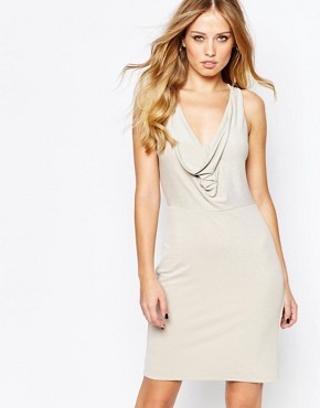photo Draped Knot Back Metallic Jersey Dress by BCBG Max Azria, color Canvas - Image 1