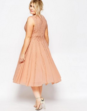 photo Fit & Flare Dress with Lace by ASOS CURVE, color Nude - Image 2