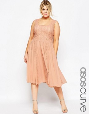 photo Fit & Flare Dress with Lace by ASOS CURVE, color Nude - Image 1