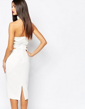 photo Diaz Knee Midi Pencil Dress with Lace Up Sides by AQ AQ, color Cream - Image 2