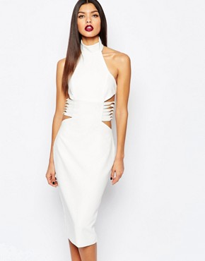photo Diaz Knee Midi Pencil Dress with Lace Up Sides by AQ AQ, color Cream - Image 1