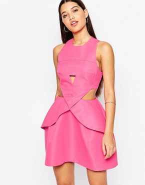 photo Daria Mini Dress with Pleat Front by AQ AQ, color Pretty Pink - Image 1