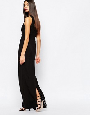 photo Climax Column Maxi Dress with Metal Plunge Front by AQ AQ, color Black - Image 2