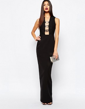 photo Climax Column Maxi Dress with Metal Plunge Front by AQ AQ, color Black - Image 1