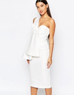 photo Tosso Midi Dress with One Shoulder Pleat Detail by AQ AQ, color Cream - Image 1