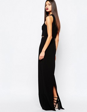 photo Muscan Maxi Dress with Lace Up Waist Detail by AQ AQ, color Black - Image 2