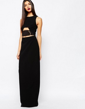 photo Muscan Maxi Dress with Lace Up Waist Detail by AQ AQ, color Black - Image 1