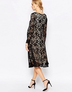 photo Lace Panel Midi Swing Dress by Club L Maternity, color Black - Image 2