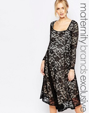 photo Lace Panel Midi Swing Dress by Club L Maternity, color Black - Image 1