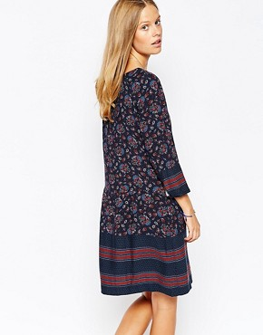 photo Printed Floral Shift Dress by Esprit, color Navy Multi - Image 2